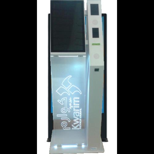 Kiosk schmal mit hochkant Monitor und Acryglas
