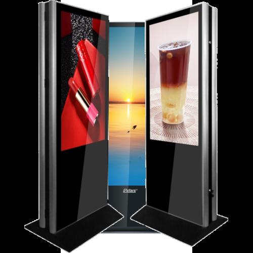 Doppelseitige Infostele günstig mit 2 Bildschirmen in 65 Zoll